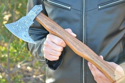 "HUNTEX Hand-Forged Damascus 16"" Long Burl Olive Wood VIKING AXE"