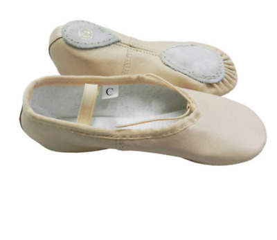 Childs Leather Ballet shoe pink leather elastics not sewn in split sole