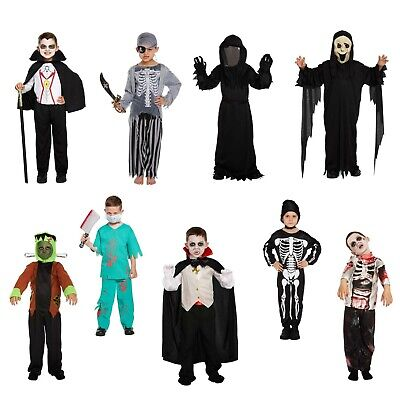 Boys Halloween Fancy Dress Up Costume Outfit Ghost Vampire Monster Zombie Pirate