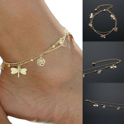 Lady Anklet Gold Bead Chain Ankle Bracelet Barefoot Sandal Beach Foot Jewelry