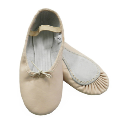 Childs Leather Ballet shoe pink leather elastics not sewn in full sole