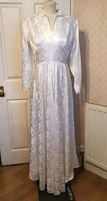 Vintage Damask Silky Satin 1950's Bridal Wedding Dress with Photos 10 12