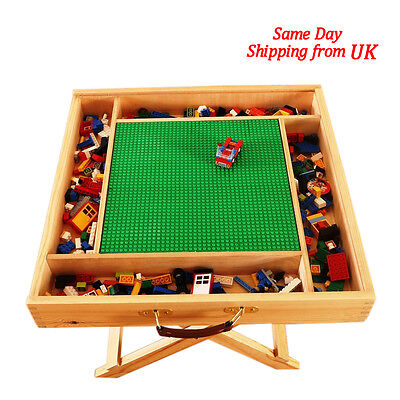 Play Lego Table Wooden Portable Folding Table With Chalkboard & Storage for Kids