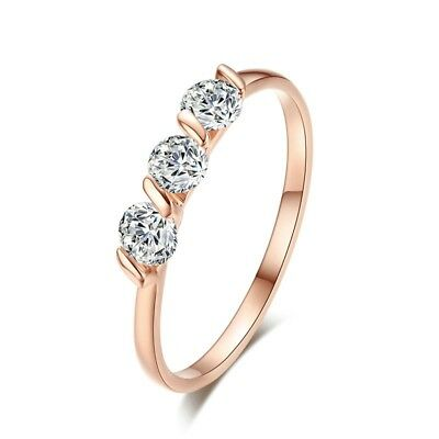 Three-Stone Rose Gold Plated Engagement 3 Crystals Band Ring Size Wedding Prom