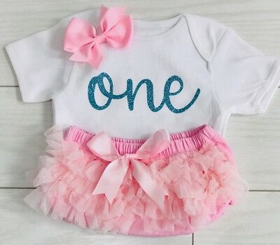 Baby Girls 1st First Birthday Outfit Tutu Knickers Cake Smash Photo Shoot Pink