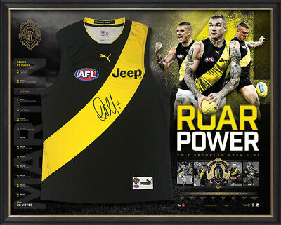 Dustin Martin 2017 Brownlow Medal Signed Official AFL Richmond Jumper Framed