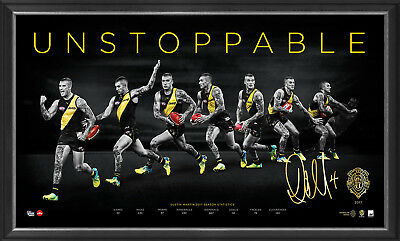 Dustin Martin Signed 2017 Brownlow Richmond AFL Print Framed Unstoppable DUSTY