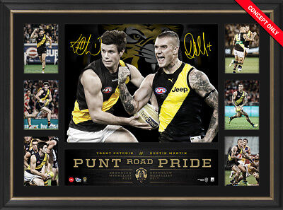 Trent Cotchin & Dustin Martin Dual Signed Brownlow Tribute Richmond Print Framed