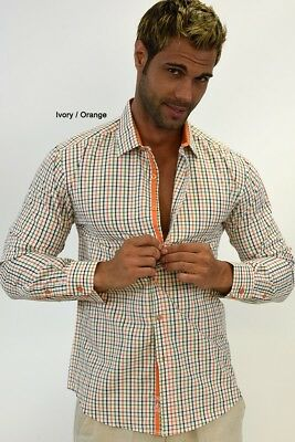 S - Mens Cotton Plaid Long Sleeved Dress Shirt in (2) Colors (MCS98-P2)-IVO/ORA