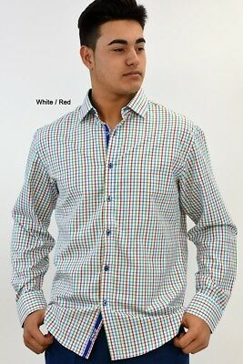 L - Mens Cotton Plaid Long Sleeved Dress Shirt in (2) Colors (MCS98-P2)-WHI/RED