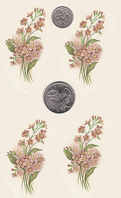"""4  x Waterslide ceramic decals Decoupage Pink forget-me-not 2 3/4"""" x 1 1/2"""" PD96"""