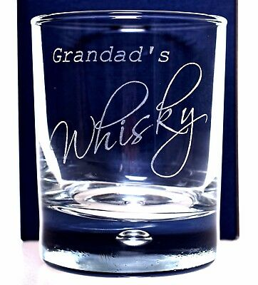 Personalised 'GRANDAD'S WHISKY' Glass Tumbler Gift Christmas/Birthday