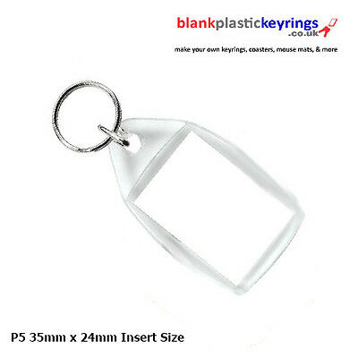 P5 Blank Plastic Acrylic Clear Photo Keyring 35mm x 24mm insert size Personalise