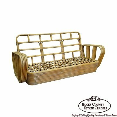 Paul Frankl Style Vintage Bamboo Rattan Sofa