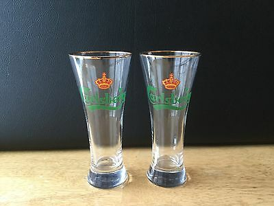 Carlsberg Gold Rim Pint Beer Pilsner Glass Set Of 2