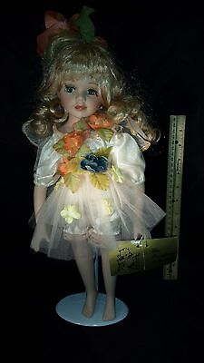 """Broadway Collection Porcelain Doll Girl Angel 16"""" Tall Wings White Dress Flowers"""