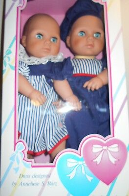 Lissi - Twin Dolls - Boy & Girl- Cloth/vinyl.  1992 - Partly Hand Made  - Nib