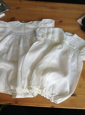 """Vintage 60's Baby Rompers X 2 Smocked Terylene 22"""" Chest And 24"""" Chest"""