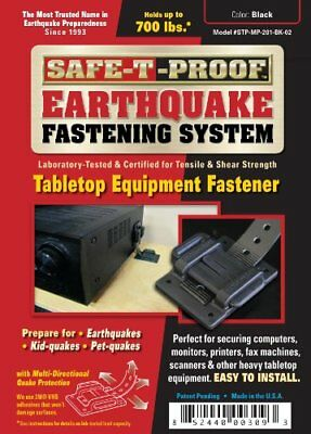 Safe-T-Proof  Earthquake Fastening System Tabletop Equipment Fastener Black