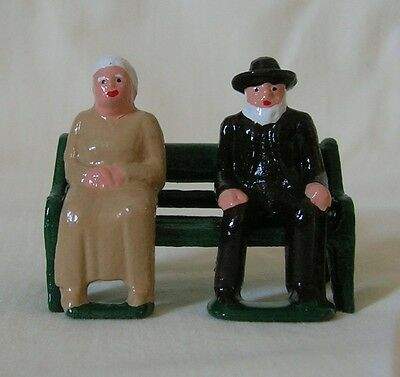 Old Couple seated on a bench, G scale train figures, Grey Iron Reproduction