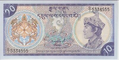 BHUTAN BANKNOTE P15a 10 NGULTRUM (1986) FRACTIONAL SERIAL NUMBER UNC