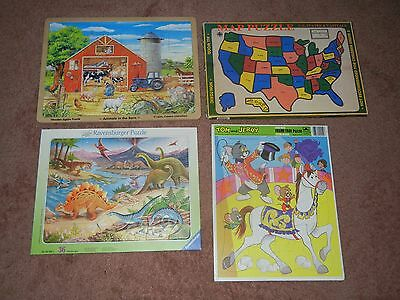 4 kid's puzzles ANIMALS IN BARN STATES DINOSAURS STATES & CAPITOLS TOM & JERRY