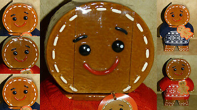 Gingerbread Man Storage Jar Wearing his Xmas Jumper :with Biscuits Christmas