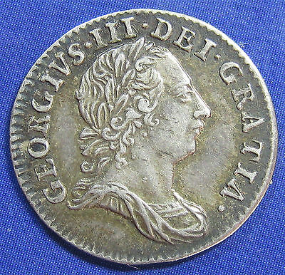 1763 3d George III silver Threepence in an excellent grade
