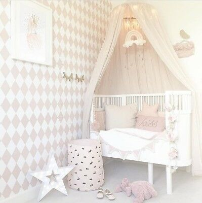 Canopy Tent Mosquito Net Dome Baby Nursery Crib Bedroom Cotton - Beige