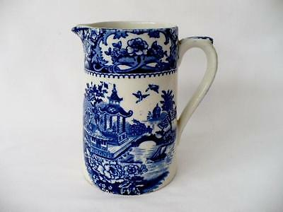 Late 19th c Blue & White Ware Jug - Willow Decoration