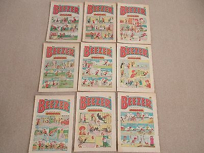 THE BEEZER COMICS-1984/1985 X 9-GOOD CONDITION- LIKE BEANO-DANDY-No's 1540-1577-