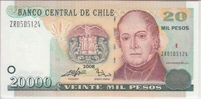 CHILE BANKNOTE P159b  20000 PESOS 2008 REPLACEMENT  UNC