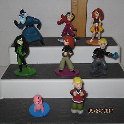 Complete Set of 8 Kim Possible Disney Store Exclusive PVC Figures Rufus Ron