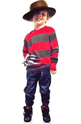 Kids Boy Freddy mask Red & Green Stripe Krueger Knitted Jumper Hat Glove Costume