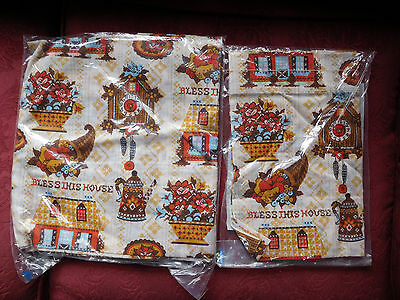 Vintage Cafe & Valance Kitchen Curtains Brown BLESS THIS HOUSE NIP Parker House