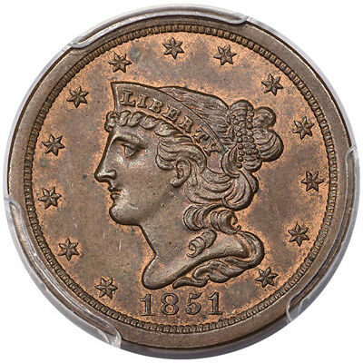 1851 1/2C Braided Hair Half Cent PCGS MS64BN CAC