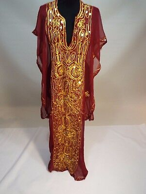 women red gold embroidered Indian dress kuftan caftan abaya gown size S