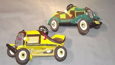 Lot of 2 1977 Vintage Miller Studios Chalkware Cars Automobiles Hot Rod Roadster