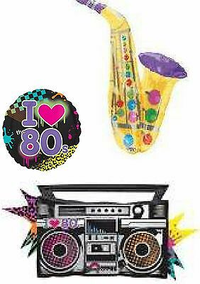 Totally 80's 1980's Foil Balloons &Optional Personalisation Party Decoration