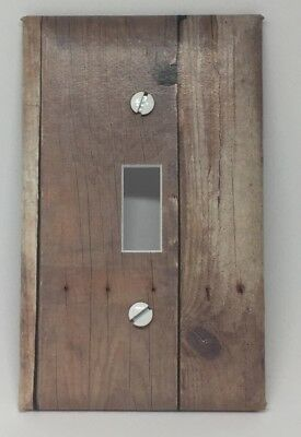 Light Switch Cover Plate Wooden Planks Vintage Looking Old Wall Decor Barn Wood