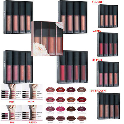 4PCS/Set Long Lasting Waterproof Matte Makeup Lipstick Lip Liquid Gloss Pencil
