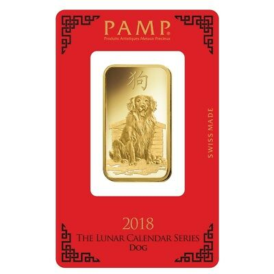 Sale Price - 1 oz PAMP Suisse Year of the Dog Gold Bar (In Assay)