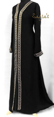 Dubai Nidha Open Abaya with Pearls and Diamond Detail