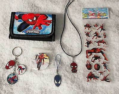 SPIDERMAN Bundle WALLET BADGE KEYRING NECKLACE PHONE CHARM STICKERS A