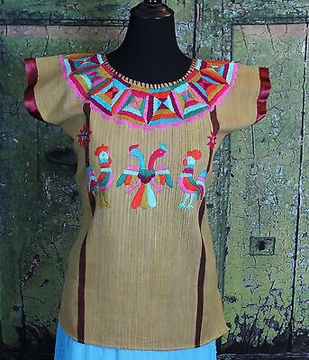 Extra Fine Hand Woven & Embroidered Huipil Huazolotitlan Oaxaca Mexico Peasent
