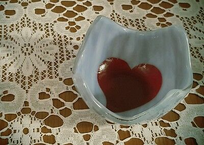 Fused glass heart Valentines small bowl / candle holder / home decor.