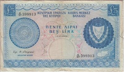 CYPRUS BANKNOTE P44a-8913  5 POUNDS 1.12.1969 TEARS AT RIGHT & LEFT VG