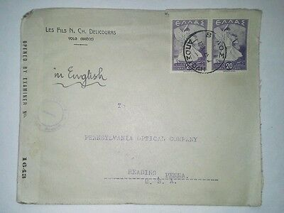 GREECE 1945 WWII Censored Cover Volo to Reading, PA USA