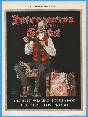 1924 Interwoven Stocking Co Mens Socks 1920s Norman Rockwell Art Luggage Ad