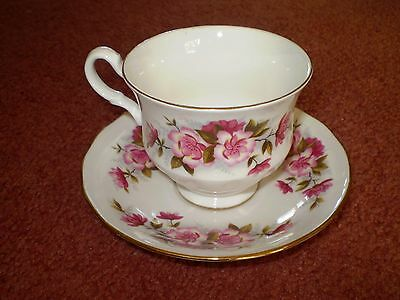 Vintage Pretty Bone China Queen Anne Duo ~ Pink Flowers